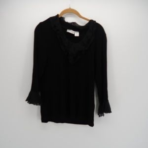 Chico's Travellers 3/4 Ruffle Sleeve Top Blouse